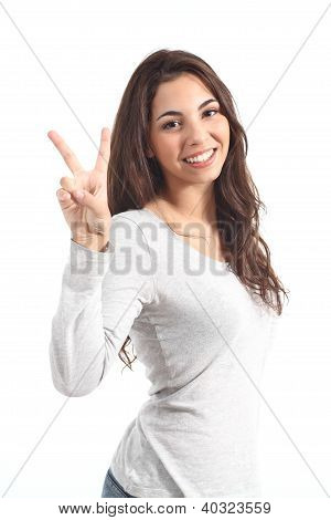 Young Beautiful Woman Making The Victory Sign