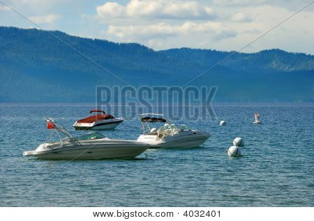 Three Speedboats On Lake Tahoe In California