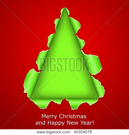 Abstract Christmas tree made �?�¢??�?�¢??of torn paper on red background. Raster copy of vector illustration