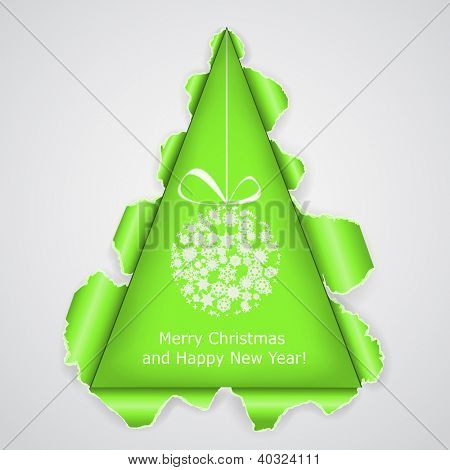 Abstract Christmas tree made �?�¢??�?�¢??of torn paper. Raster copy of vector illustration