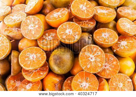 Group Of Sliced Tangerine Oranges