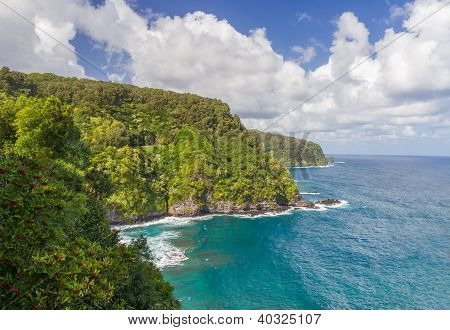 Lush Hana Coastline In Maui