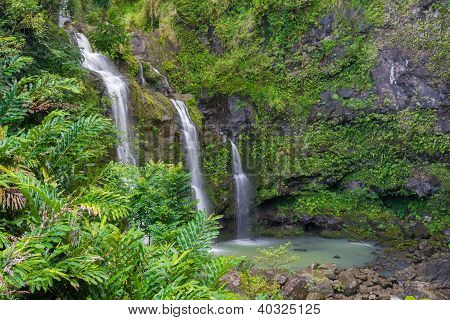 Three Waterfalls In A Tropical Forest