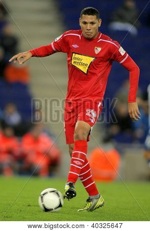 BARCELONA - NOV, 28: Hedwiges Maduro of Sevilla during a King's Cup match between Espanyol and Osasuna  at the Estadi Cornella on November 28, 2012 in Barcelona, Spain