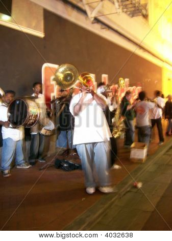 Street Jazz Band playing on Bourbon Street New Orleans during Good Friday 2008