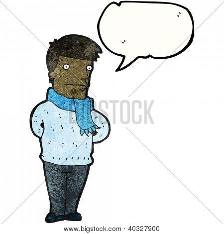 Karikatur Mann mit Schal
