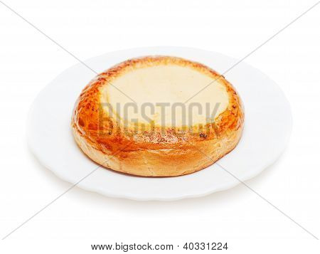 Fresh Buns Muffins With Cottage Cheese For Breakfast Isolated On White Background