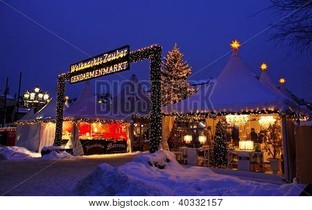Christmas Market At Gendarmenmarkt Square In Berlin, Germany