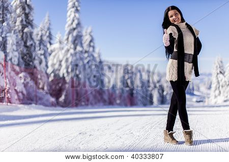 Young Woman In Winter