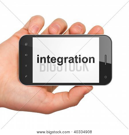 Hand holding smartphone with word integration on display. Generi