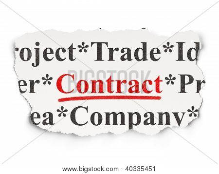 Torn newspaper with words Contract on  background