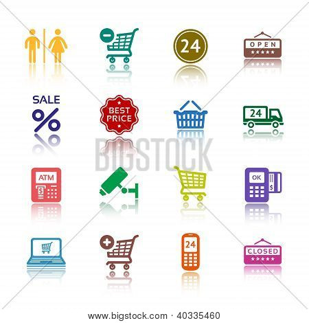 Set pictograms supermarket services, Shopping colour icons