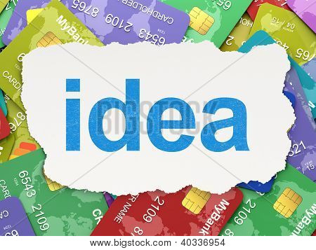 Torn paper with words idea on credit card background