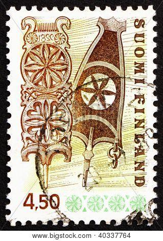 Postage stamp Finland 1976 Carved Wooden Distaffs