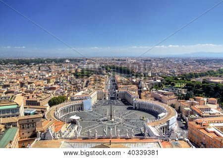 Panoramic view on St Peters Square. Roma (Rome), Italy
