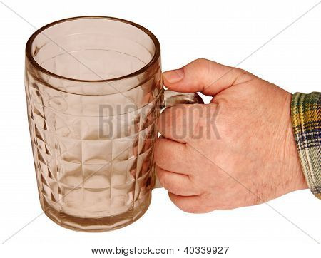 Beer Mug In His Hand.