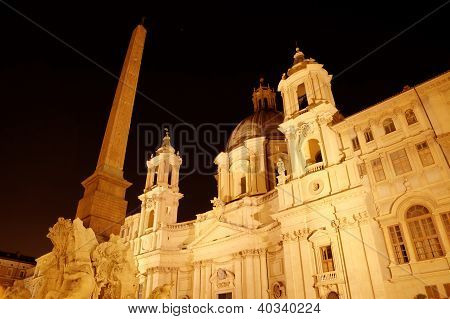 Night view of Santa Agnese in Agone at Piazza Navona. Roma (Rome), Italy