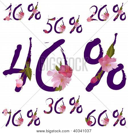 Vector Sale Percents With Spring Sakura Flowers