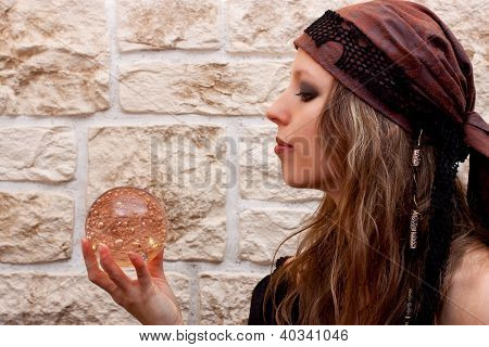 Side View Of A Female Fortune Teller