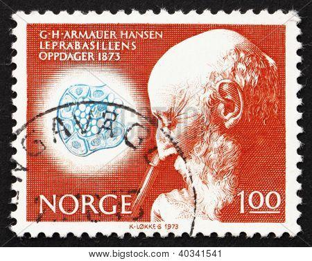 Postage stamp Norway 1973 Dr. Armauer G. Hansen