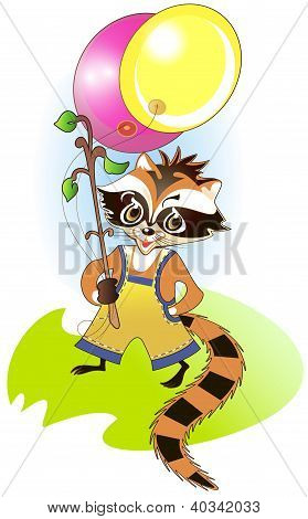 Little Raccoon With Bright Balloons