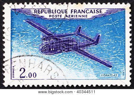 Postage stamp France 1960 Plane Noratlas