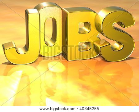 3D Word Jobs On Gold Background