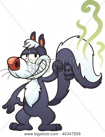 Cartoon skunk. Vector clip art illustration with simple gradients. Skunk and smell on separate layers for easy editing.