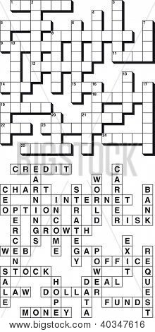 Empty and Solved Business Crossword Puzzle