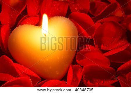 Una vela de forma de corazón rodeada de pétalos de rosa rojos cubierto de gotitas de agua, una buena imagen para una Val