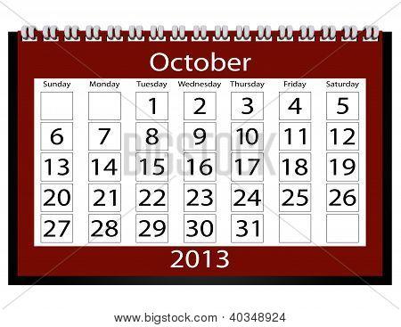 3D Render 2013 Calendar October