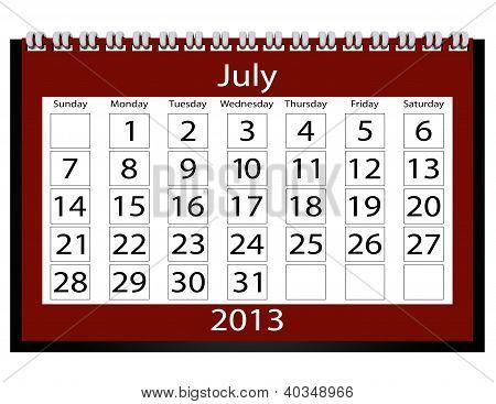 3D Render 2013 Calendar July