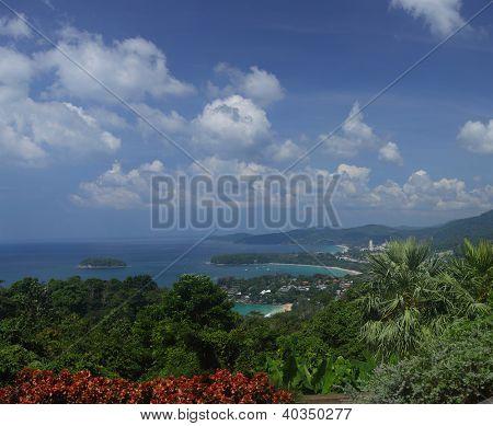 Western coastline of Phuket island (beaches from closest: Kata Noi, Kata, Karon), Andaman sea, Thailand