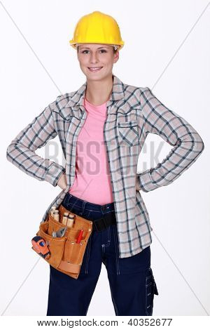 Woman wearing a toolbelt