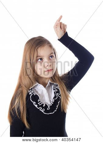 Young Blond Girl Who Is Pointing A Finger On.