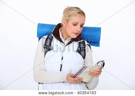 Woman orienteering