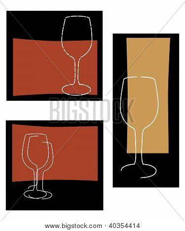 Retro Style Abstract Wine Background Set