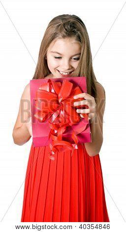 Little Girl Open Red Gift Box