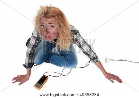 Careless woman electrician