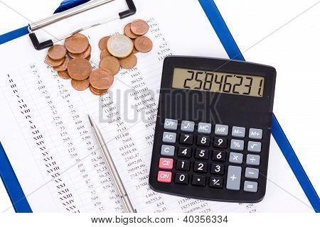 Coin, A Calculator, A Pen