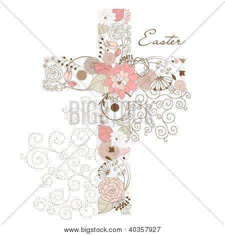 Beautiful cross made from flowers