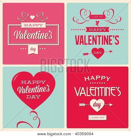 set of valentines day card design