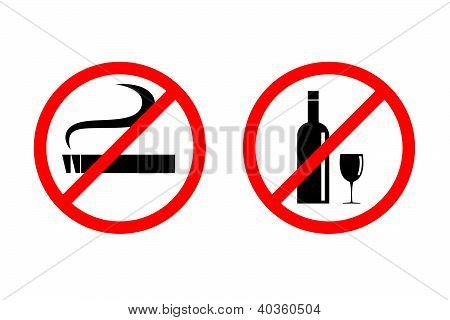 No smoking No drinking vector