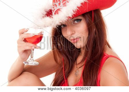Sexy Young Woman With Red Wine