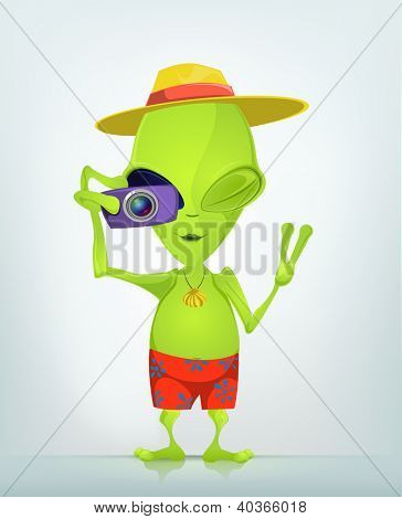 Cartoon Character Funny Alien Isolated on Grey Gradient Background. Tourist Photographer. Vector EPS 10.