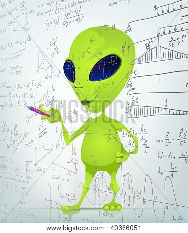 Cartoon Character Funny Alien Isolated on Grey Gradient Background. Writer . Vector EPS 10.