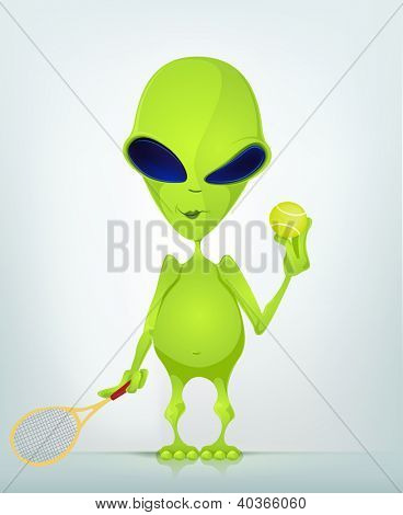 Cartoon Character Funny Alien Isolated on Grey Gradient Background. Tennis. Vector EPS 10.