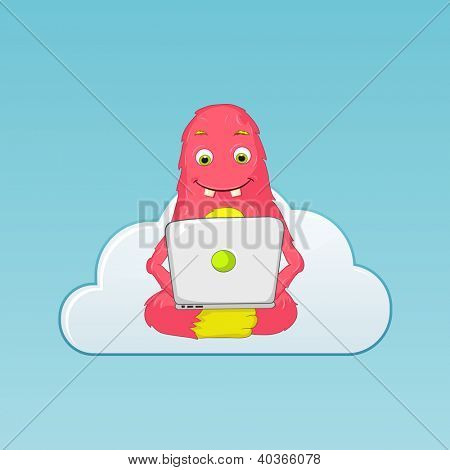 Cartoon Character Funny Monster Isolated on Grey Gradient Background. Coder. Vector EPS 10.
