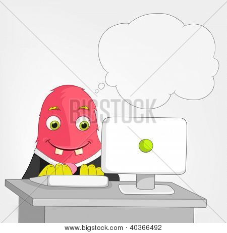 Cartoon Character Funny Monster Isolated on Grey Gradient Background. Clerk. Vector EPS 10.
