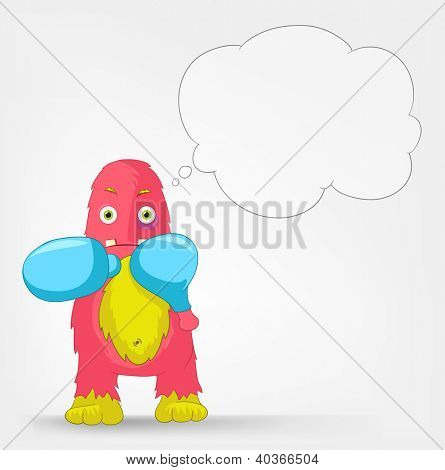 Cartoon Character Funny Monster Isolated on Grey Gradient Background. Box. Vector EPS 10.